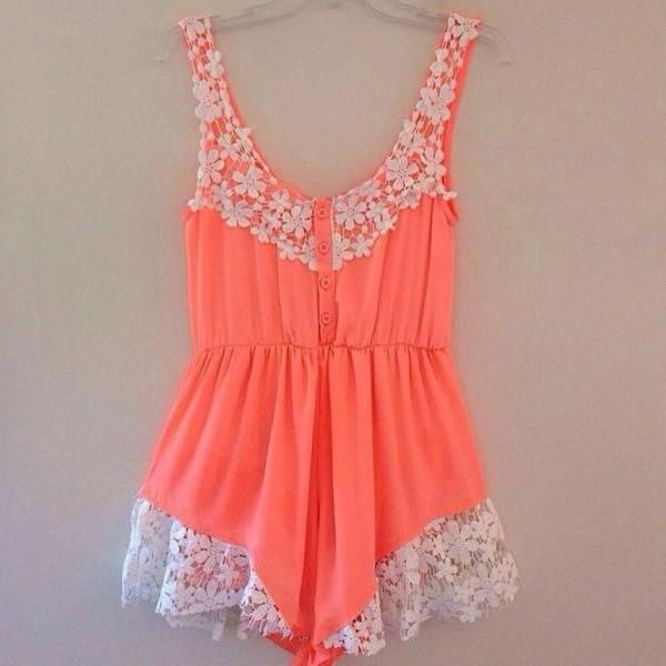 Stitching Lace Halter Rompers