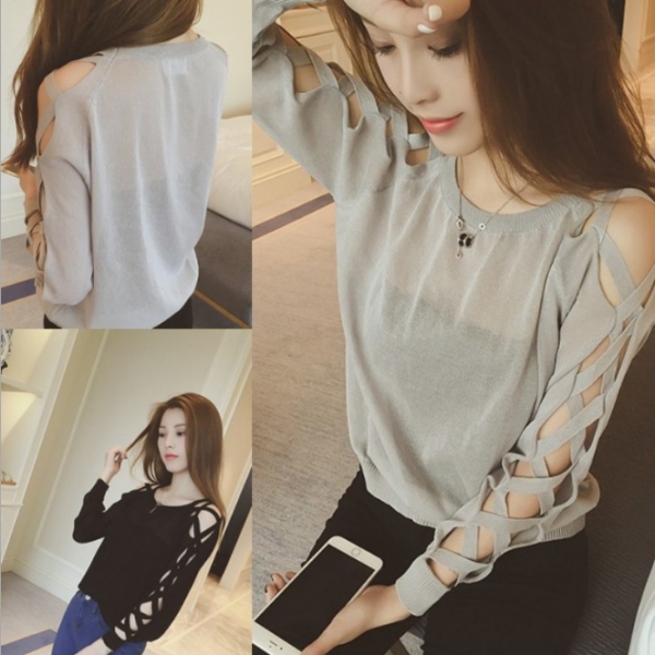 Fashion Hollow Out Long Sleeved Shirt 5210618