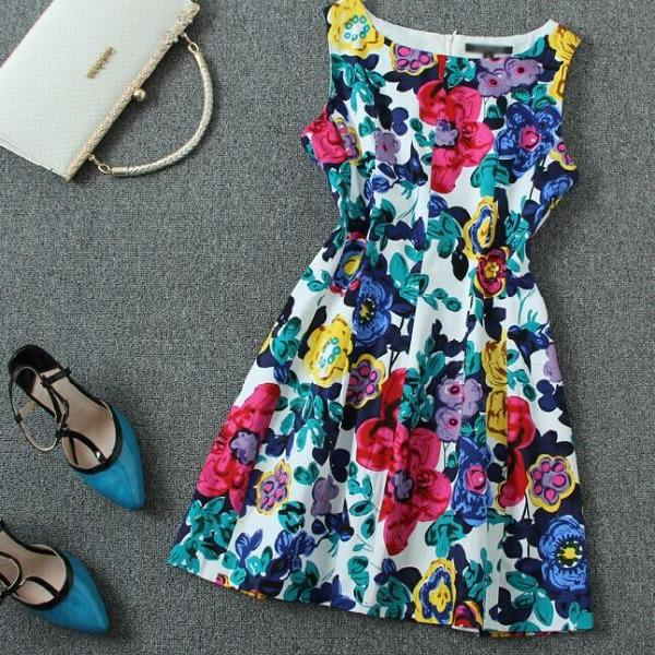 Color Print Tank Dress J707Bg
