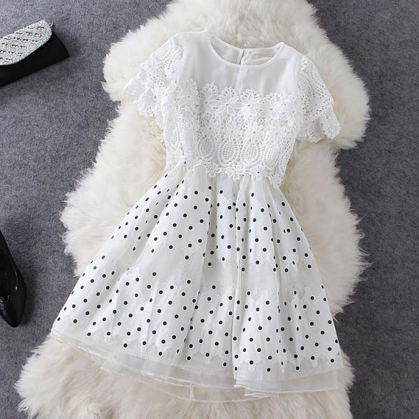 Lace Stitching Polka Dot Dress Ad813Bb