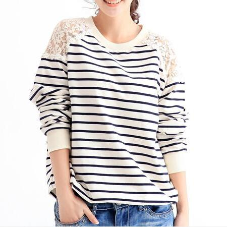 Lace Stripe Sweater Mg818H