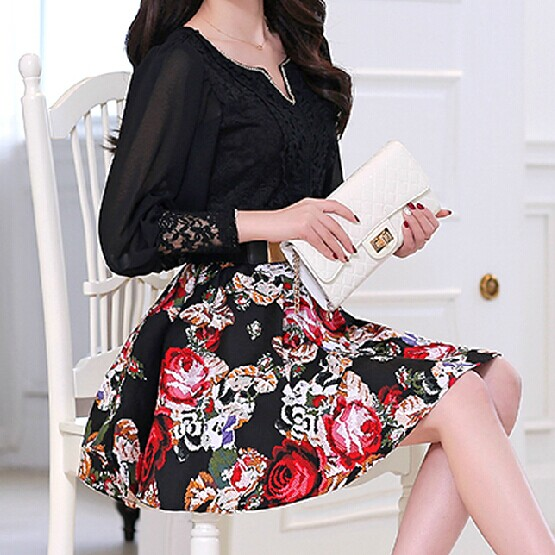 Lantern Sleeve Chiffon Lace Floral Dress Wq724Dg