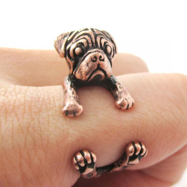 Pug Animal Ring Wrapped Around Your Finger In Copper | Sizes 4 - 8.5