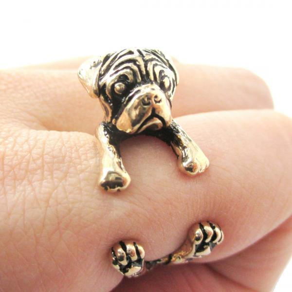 Pug Animal Ring Wrapped Around Your Finger In Shiny Gold | Sizes 4 - 8.5