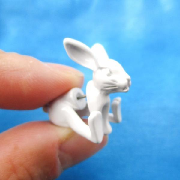 Unique Fake Gauge Detailed 3D Bunny Rabbit Animal Stud Earrings In White