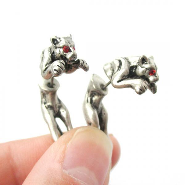 Unique Fake Gauge Tiger Leopard Shaped Animal Stud Earrings In Silver With Red Rhinestone Eyes