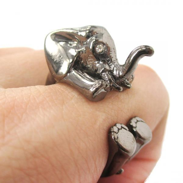 3D Baby Elephant Animal Wrap Around Ring In Gunmetal Silver | Size 5 To 8.5