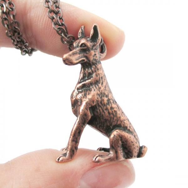 3D Detailed Doberman Pinscher Shaped Dog Lover Animal Charm Necklace In Copper For Women