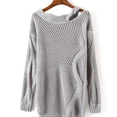 Cultivating Wild Round Neck Strapless Long-Sleeved Thread Sweater