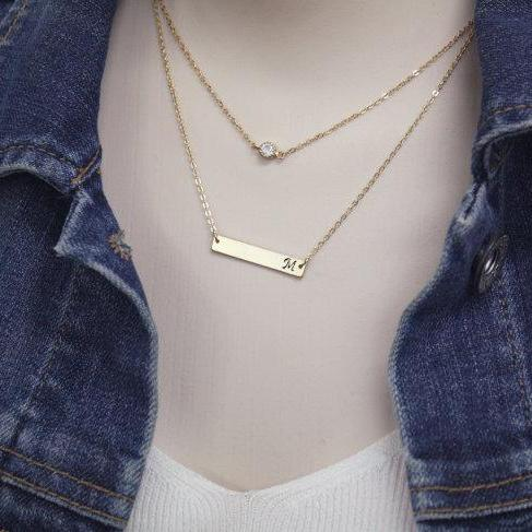 Personalized Double Layered Tiny Dot Bar Necklace Initial Bar Necklace Personalized Necklace Hand Stamped Initial Necklace
