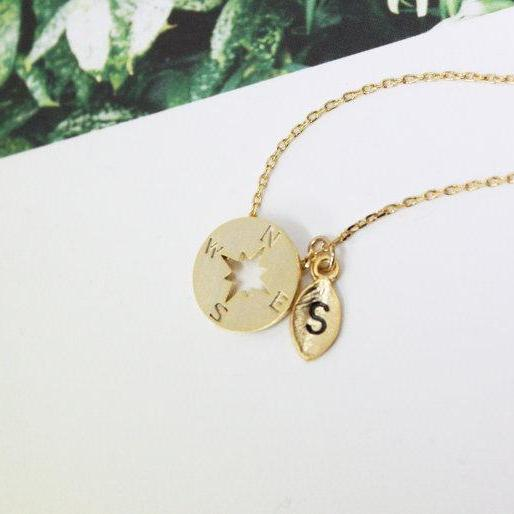 Personalized Initial Compss Necklace Gold Compss Necklace Initial Jewelry Nautical Jewelry